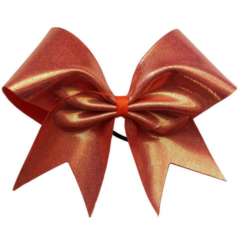 Orange mystique fabric cheer bow. - BRAGABIT