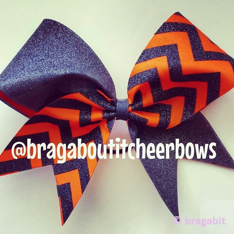 Orange ribbon and  black glitter chevron cheer bow. - BRAGABIT  - 1