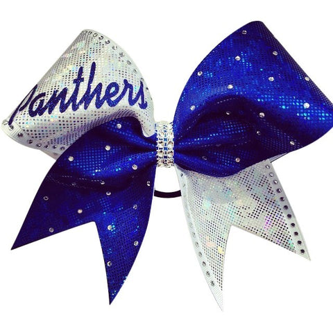 Panthers royal blue and white shattered glass holographic fabric cheer bow with rhinestones - BRAGABIT