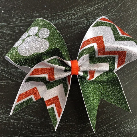 Paw cheer bow with chevron. - BRAGABIT