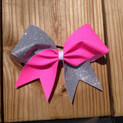 pink and silver glitter cheer bow - BRAGABIT
