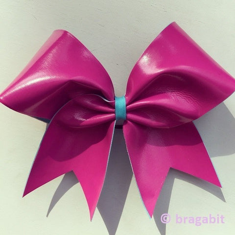 Pink and turquoise autograph cheer bow - BRAGABIT