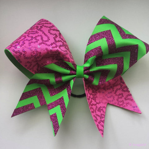 Pink glitter, neon green ribbon chevron and pink sequins cheer bow - BRAGABIT