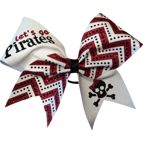 Pirates glitter cheer bow with black rhinestones. - BRAGABIT  - 1