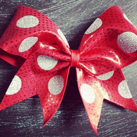 Polka dot cheer bow with mystique fabric and glitter polka dots. - BRAGABIT