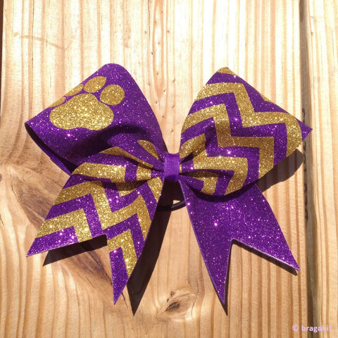 Purple and gold chevron print bow with paw. - BRAGABIT