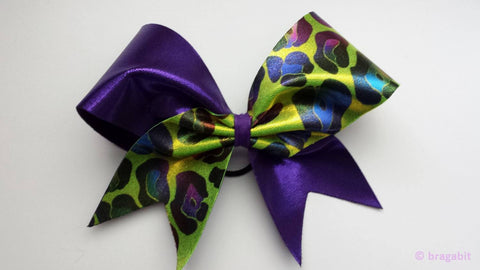 Purple and multicolored cheetah print cheer bow. - BRAGABIT