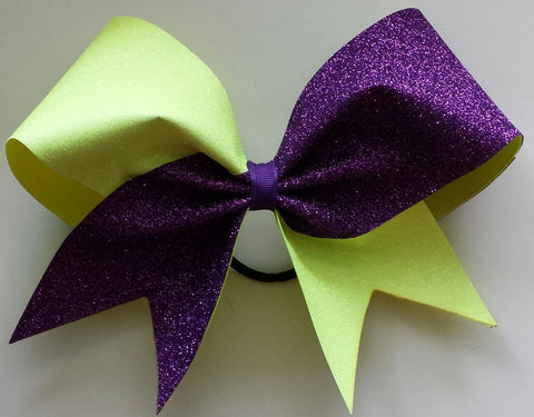 Purple and neon yellow glitter cheer bow - BRAGABIT