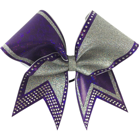 Purple and silver glitter bow with rhinestones . You can add words to the left loop. - BRAGABIT  - 1