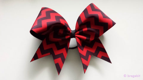 Red and black chevron cheer bow - BRAGABIT  - 1