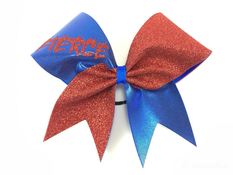 Red and blue fierce cheer bow. - BRAGABIT  - 1
