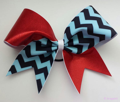 Red and carolina blue chevron cheer bow - BRAGABIT