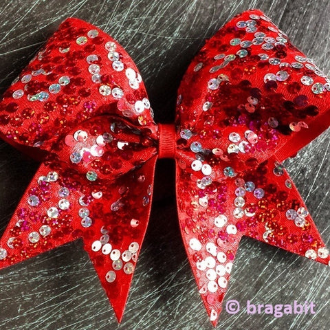 Red and silver reversible sequins cheer bow - BRAGABIT