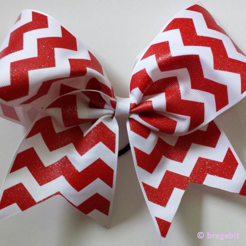 Red and white chevron ribbon cheer bow - BRAGABIT