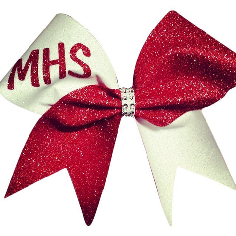Red and white glitter cheer bow. can be made in any color combinations , with your team name or team mascot. just - BRAGABIT