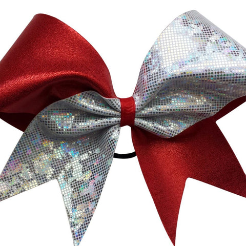 Red and white shattered glass holographic cheer bow. - BRAGABIT