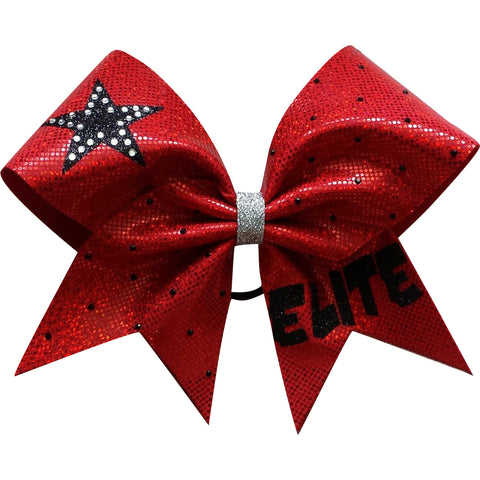 Red elite bow with glitter and rhinestones. - BRAGABIT