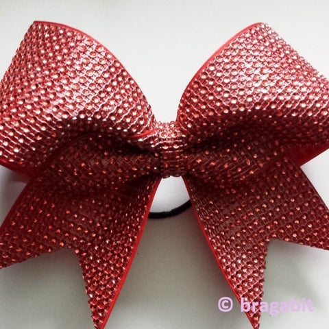 Red rhinestone material cheer bow. - BRAGABIT  - 1