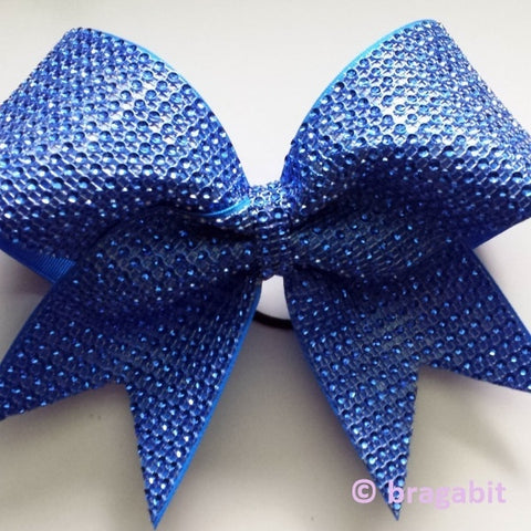 Rhinestone material bow. Made with blue material. - BRAGABIT  - 1
