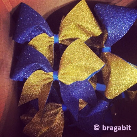 royal blue and gold glitter cheer bow. - BRAGABIT