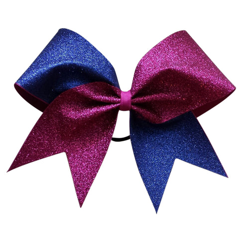Royal blue and pink glitter cheer bow - BRAGABIT