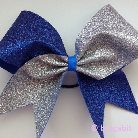 Royal blue and silver glitter cheer bow - BRAGABIT