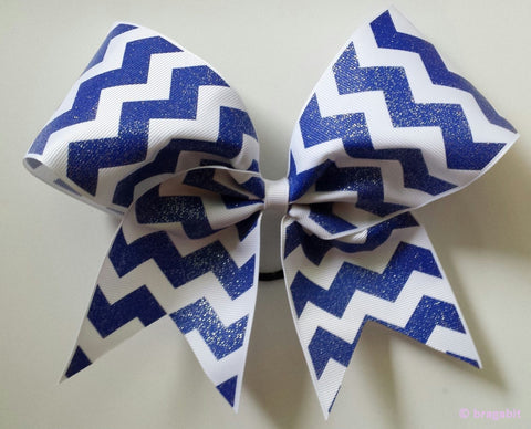 Royal blue and white chevron ribbon cheer bow - BRAGABIT  - 1