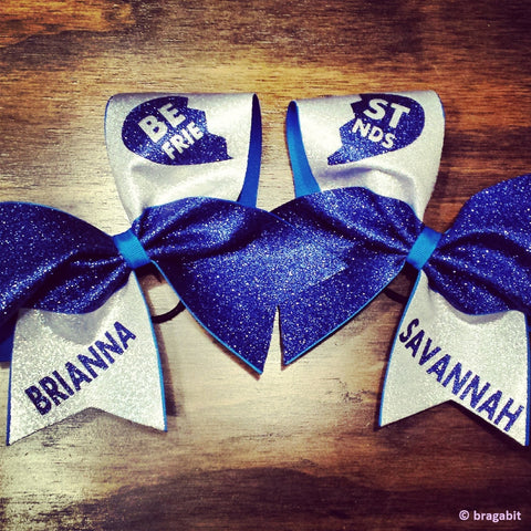 royal blue glitter and silver fabric best friends cheer bows - BRAGABIT  - 1