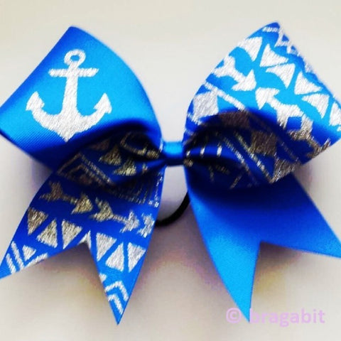 royal blue ribbon cheer bow with silver glitter tribal print and anchor - BRAGABIT