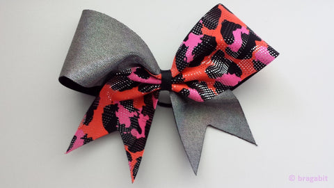 Silver and pink cheetah print cheer bow - BRAGABIT