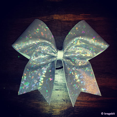 sparkly white-silver shattered glass fabric cheer bow. - BRAGABIT