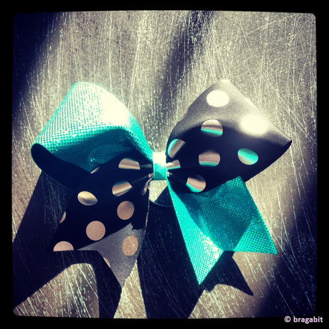 Teal, black and polka dots cheer bow. - BRAGABIT  - 1