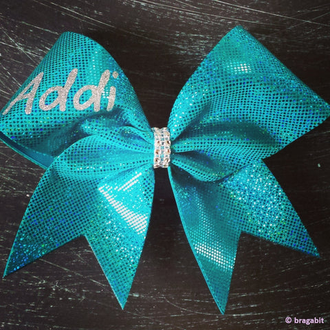 Teal holographic cheer bow with your name or team name. - BRAGABIT