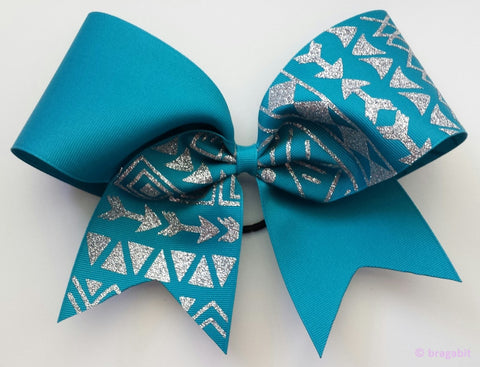 Teal ribbon tribal print cheer bow with silver glitter. - BRAGABIT