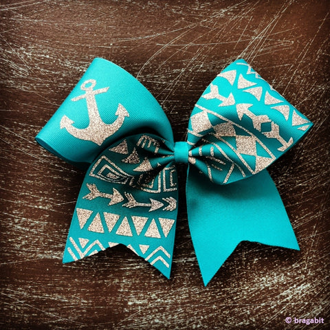 teal tribal print cheer bow - BRAGABIT