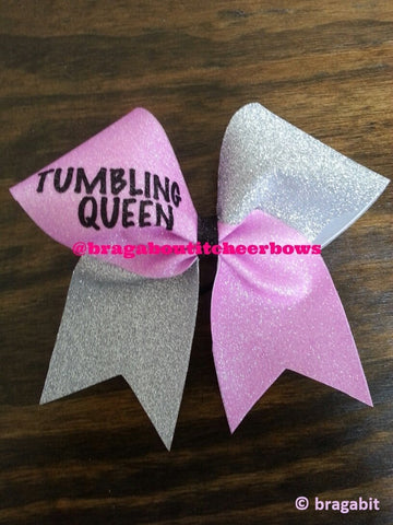 tumbling queen in holo pink and silver glitter cheer bow - BRAGABIT
