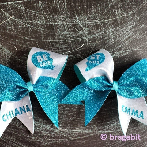 turquoise glitter and silver fabric best friends cheer bows - BRAGABIT