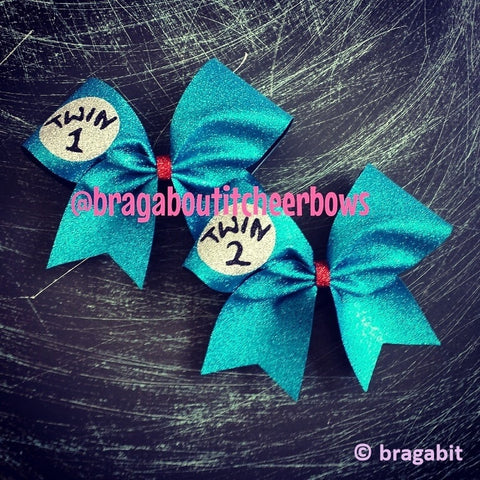 Turquoise glitter twin 1 twin 2 cheer bows. - BRAGABIT