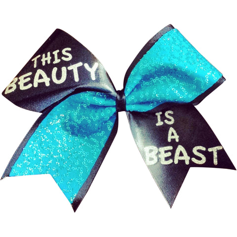 turquoise sequins and black mystique this beauty is a beast cheer bow - BRAGABIT