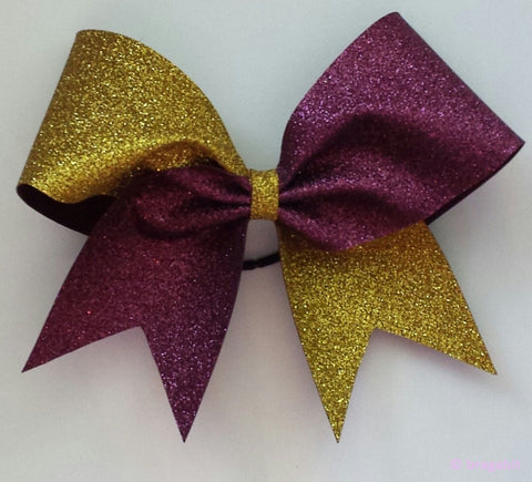 Two color glitter bow. Gold and maroon glitter cheer bow - BRAGABIT