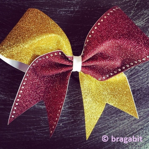 Two color glitter bow. Gold and maroon glitter cheer bow with rhinestones - BRAGABIT