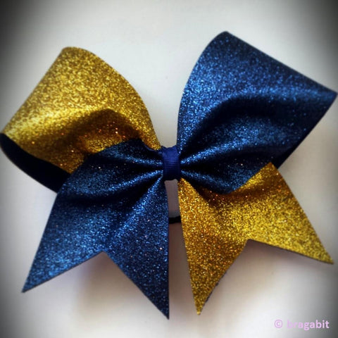 Two color glitter bow. Gold and navy glitter cheer bow. - BRAGABIT