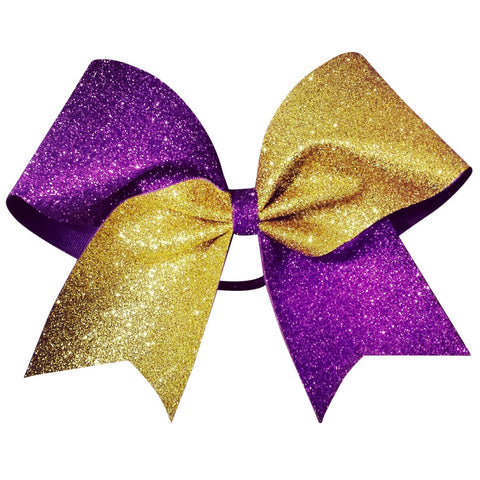Two color glitter bow. Gold and purple glitter cheer bow - BRAGABIT