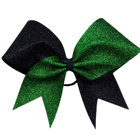 Two color glitter bow. Green and black glitter cheer bow. - BRAGABIT