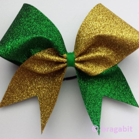 Two color glitter bow. Green and gold glitter cheer bow - BRAGABIT
