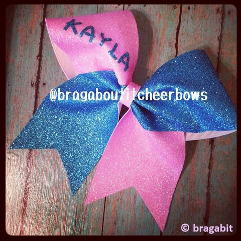 Two colors 3 inch glitter cheer bow with your name - BRAGABIT  - 1