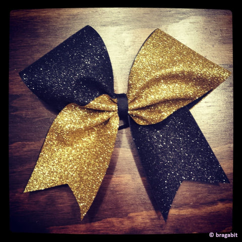 Two colors glitter bow.Black and gold glitter cheer bow. - BRAGABIT  - 1