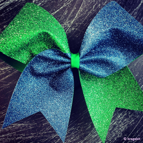 Two colors Navy blue and Kelly green glitter cheer bow. - BRAGABIT