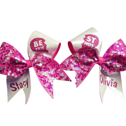 White and pink sequins best friends bows with your names. - BRAGABIT