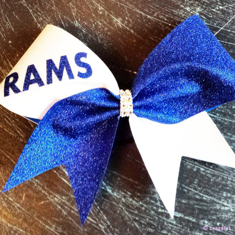 White and royal blue glitter cheer bow. - BRAGABIT